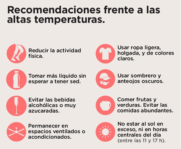 Ante los altas temperaturas, es recomendable seguir las indicaciones de los organismos de salud y de protección civil de cada localidad.